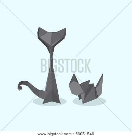 Two cats in the flat style
