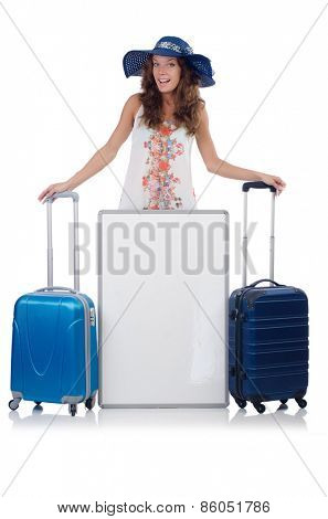 A girl with luggage isolated on white