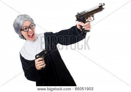 Comic nun isolated on white
