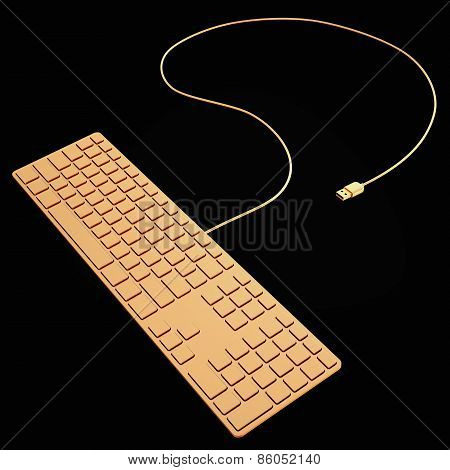 Golden Computer Keyboard  Isolated On Black Background