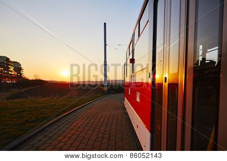 Tram At The Sunset