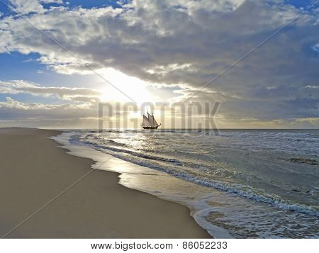 beach, sea, sailing ship and sunset