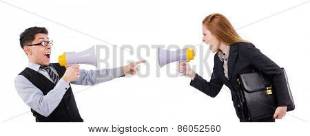 Woman and man with loudspeaker isolated on the white