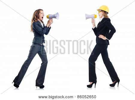 Women with helmet and loudspeaker on white