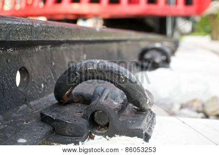 Close Up Black Knot Of Railway