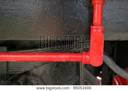 Red Steel Tube For Oil On Black Train