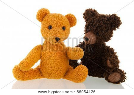 Stuffed hand made vintage bear isolated over white background