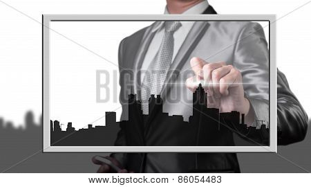 Businessman Drawing City Line, Business Concept