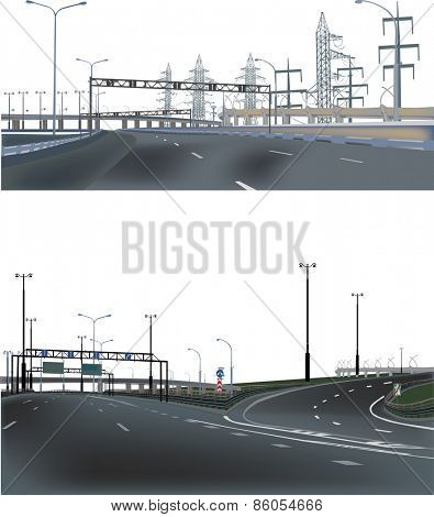 illustration with two highway landscapes
