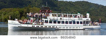Pleasure boat Bowness on Windermere Lake District England UK panorama