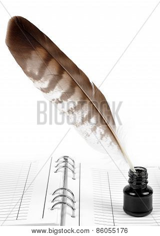 Feather with ink bottle and workbook
