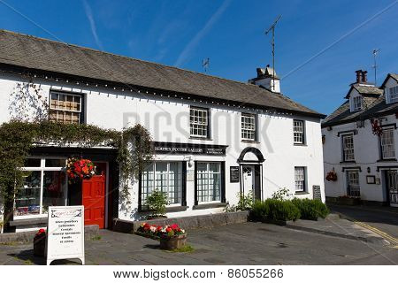 Hawkshead Lake District England uk street with gallery on a beautiful sunny summer day