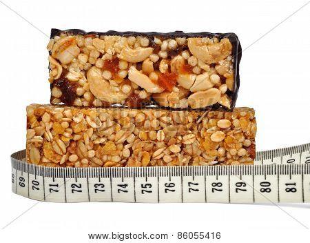 Muesli Bars with measuring tape