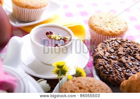 Breakfest With Tea And Fresh Baking