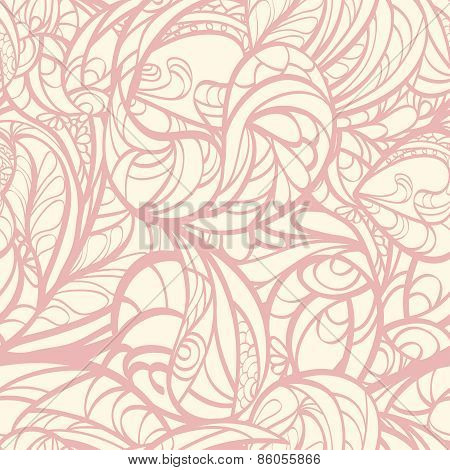 Pink Hand Drawn Floral Seamless.