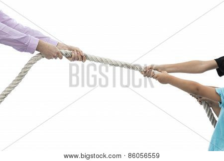 Tug Of War Between Woman And Children