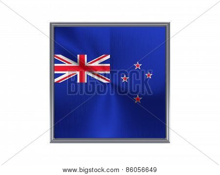 Square Metal Button With Flag Of New Zealand