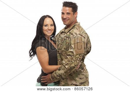 Couple Against White Background