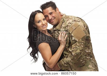 Soldier With His Wife Against White