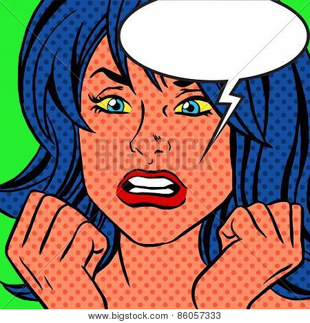 Pop Art Angry Vintage Woman Comic Bubble