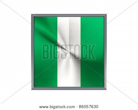 Square Metal Button With Flag Of Nigeria