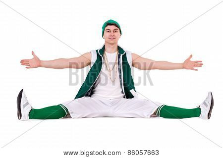 Young performer posing isolated on the white