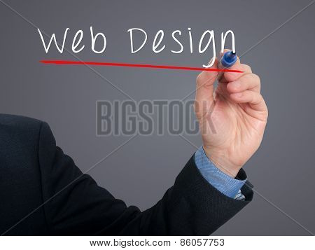 Businessman writing Web Design concept - Stock Photo