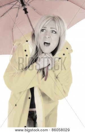 Woman In Yellow Rain Coat Under Red Umbrella Scared