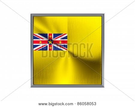Square Metal Button With Flag Of Niue