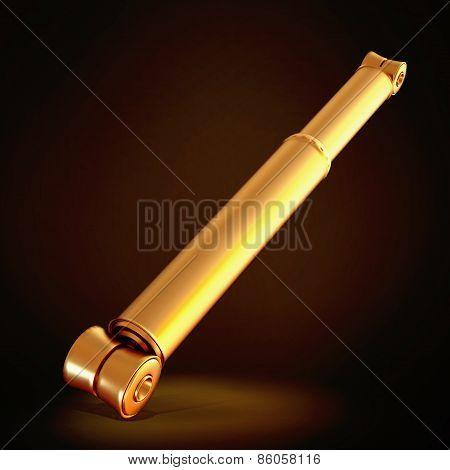 Golden Shock Absorber  On Black Background.