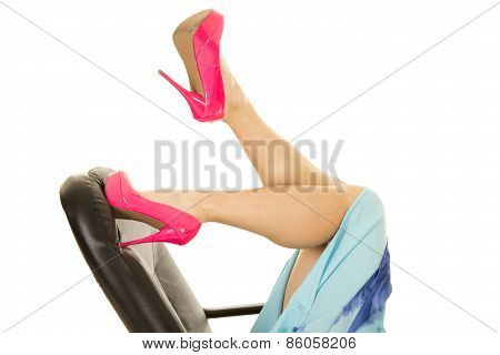 Woman Legs In Pink Heels Lay On Office Chair One Kicked Up