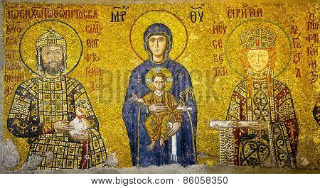 Istanbul - Jun 25, 2014 - Virgin Mary And Infant Christ Child, Flanked By Emperor John Comnenus And