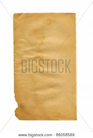 Old Paper Isolated On White Background
