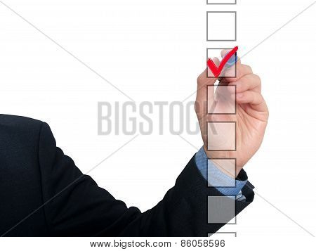 Businessman checking mark checklist marker Isolated on background. Stock Photo