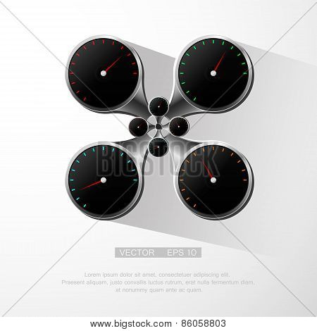 Realistic and detailed speedometer illustration