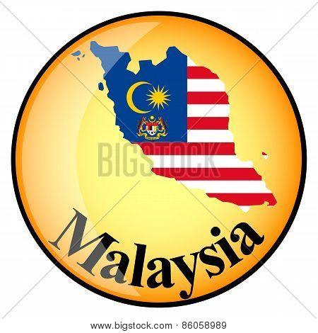 Orange Button With The Image Maps Of Malaysia