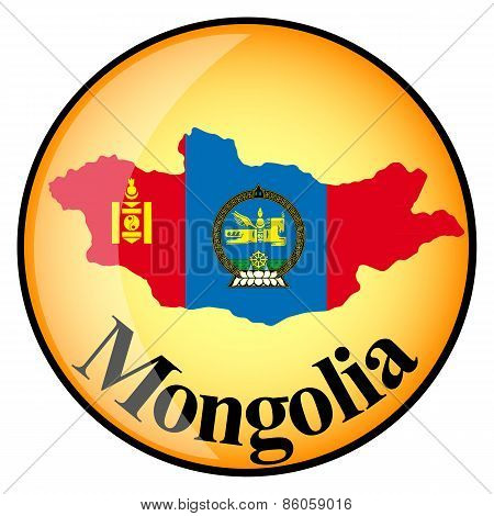 Orange Button With The Image Maps Of Mongolia