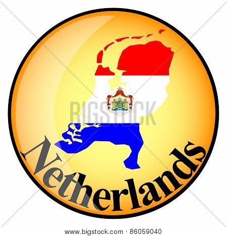 Orange Button With The Image Maps Of Netherlands