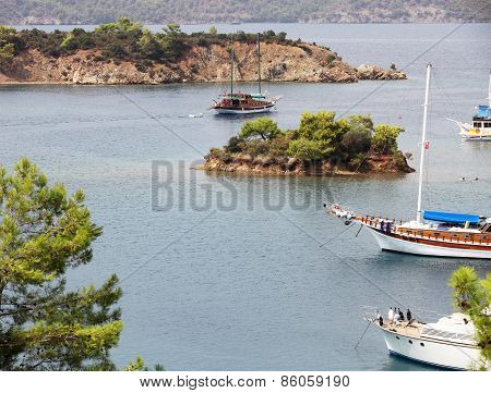 People In Sailboat Tours In Aegean Sea.