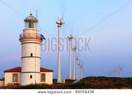 Bozcaada Lighthouse And Wind Generators