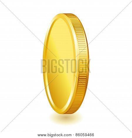 Golden shiny coin isolated on white background