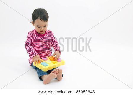 Little Girl Learning Shapes, Early Education And Daycare Concept