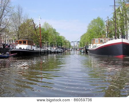 Amsterdam House Boats On A Canal 2003