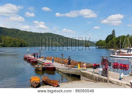 Bowness on Windermere Lake District England UK pleasure boats rady for tourists