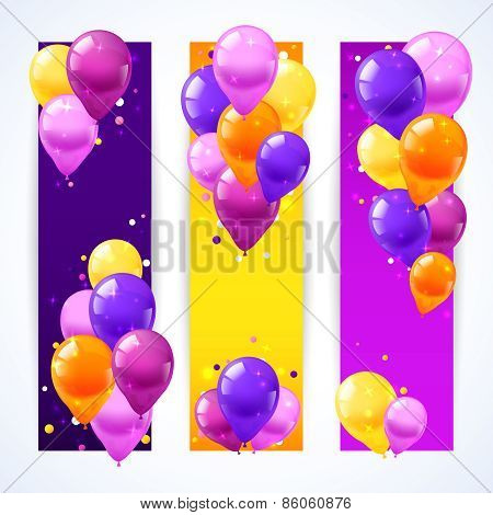 Colorful Balloons Banners Vertical