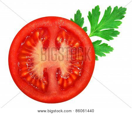 Fresh red tomato with parsley leaf