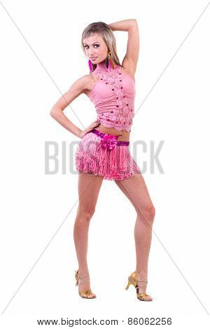 Beautiful Latino dancer woman in action. Isolated on white