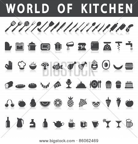 vector icons of kitchen and food
