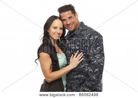 Navy Man With His Wife Against White Background