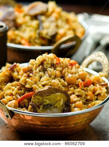 Vegetarian Pilaf With Chick-pea And Mushrooms